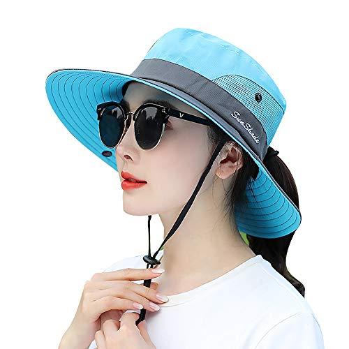 LVAIZ Waterproof Sun Hat Outdoor UV Protection Bucket Mesh Boonie Hat Adjustable Fishing Cap for Women, Blue, One Size