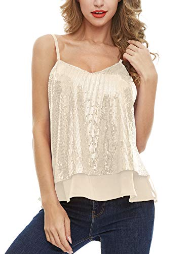 SATINIOR Women's Sleeveless Shining Camisole Sequined Vest Sequin Tank Tops (Ginkgo, XL)