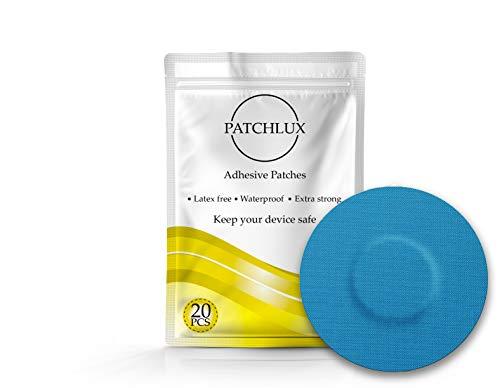 Patchlux - Parches adhesivos impermeables para protección de sensor CGM | Compatible con Freestyle Libre, Medtronic Guardian, Enlite, sin agujeros, 20 unidades de cinta precortada azul CGM