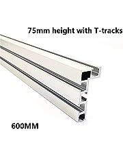 Carril en T con ranura en T, de aluminio, para trabajos manuales, para vallas, 75 mm de altura, 600 mm