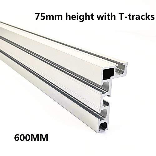 HAOMINGXING Sierra de Mesa de Aluminio con Ranura en T para carpintería, para modificar tu Banco de Trabajo de carpintería, para Valla de 75 mm de Altura con guías en T (23,6 pulgadas/600 mm)