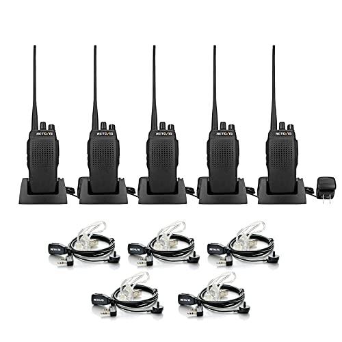 Retevis RT26 Two Way Radios Long Range Rechargeable, High Power 2 Way Radios,Rugged Walkie Talkies with Earpiece 3000mAh Battery Emergency Alarm VOX(5 Pack)