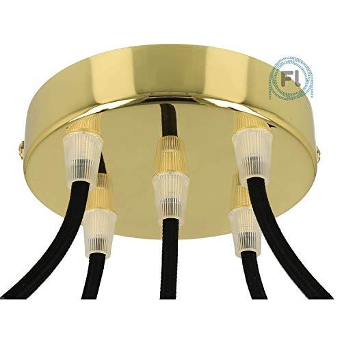 Flairlux Baldachin 5-fach messing zur Montage von Pendelleuchten | Lampenbaldachin für alle Lampen geeignet | zur Lampenaufhängung an der Decke | Deckenrosette 120x25 mm inkl Klemmnippel