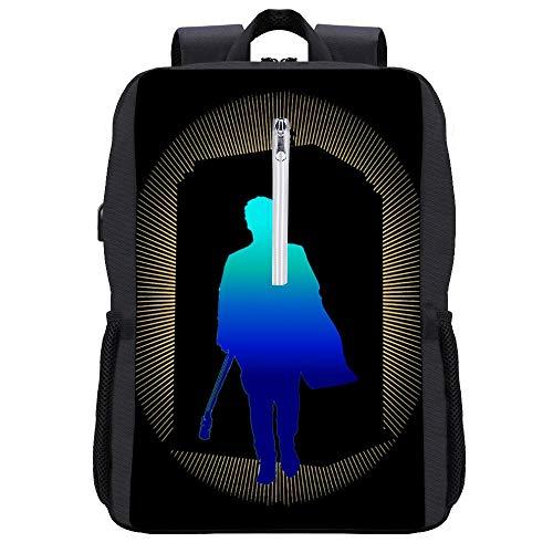 Capaldi Doctor Who Tardis Rucksack, Tagesrucksack, Büchertasche, Laptoptasche, Schultasche, mit USB-Ladeanschluss