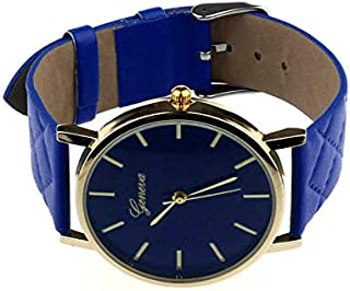 Casual watch with a leather belt for women - blue color