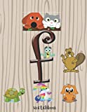 F: Cute Pets Monogram Initial Letter Handy Sketchbook Write and Draw Journal Doodle Notebook for kids, girls, boys, abc, writing, Cute Animals, Dog, ... pages) sketching notebook,Animal Monogram