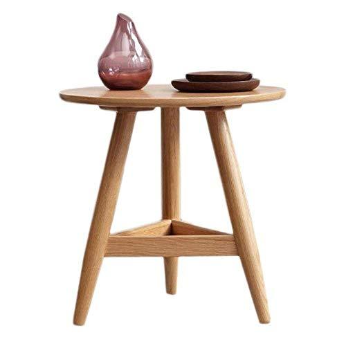 FTFTO Haushaltsprodukte Massivholztisch Vintage Tisch Holzoptik Akzent Möbel Tisch Wohnzimmer Tisch Runde Ende Seite