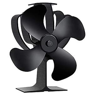 Aobosi Ventilador de estufa con 4 aspas de rotor y sistema de protección contra sobrecalentamiento, ventilador ecológico…