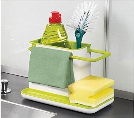 Zollyss 3 in 1 Kitchen Sink Organizer for Dishwasher Liquid, Brush, Cloth, Soap, Sponge, etc. - (Pack of 1)