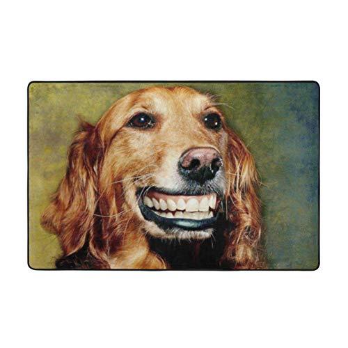 Alfombra antideslizante para sala de estar o dormitorio, 152,4 x 99,1 cm, diseño de perro sonriente