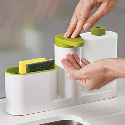 Makasy Neue Tragbare Home Bad Kunststoff Shampoo Seife Spender Praktische Flüssigkeit mit Schwamm Halter Küche Badezimmer Veranstalter