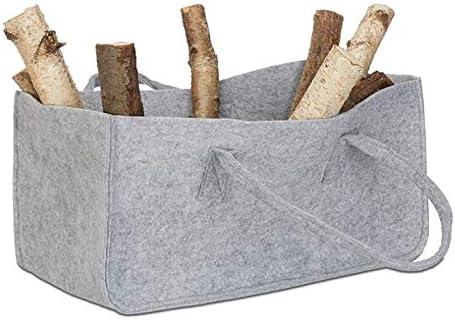 Filztaschen Hellgrau f/ür Einkaufstasche Kaminholztasche Kaminholzkorb Filz Zeitungsst/änder Zeitungskorb 2 St/ück 49 x 25.5 x 25.5 cm grau