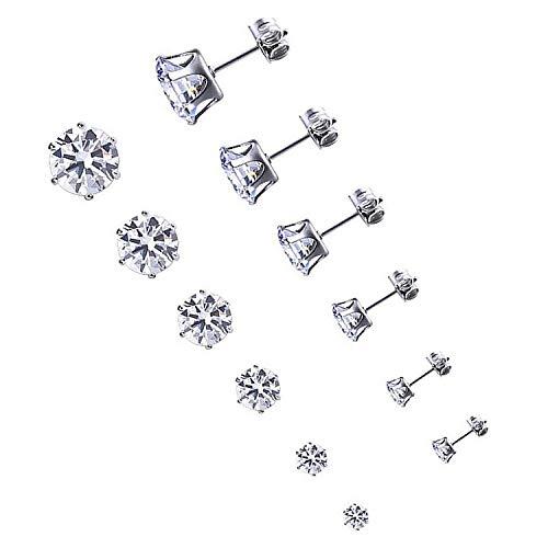 6 Paias Orecchini Acciaio Inossidabile Donna Uomo in Zircone Zirconia Cubica,Orecchini Set Argento 4mm 6mm 8mm (6 Paias)(-)