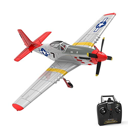 cobcob RC Airplane, Remote Control Glider RC Quadcopter Aircraft RC Airplane with Safe Technology (4-CH 2.4Ghz Transmitter Included), Easy to Fly for Adults Beginners (Red)