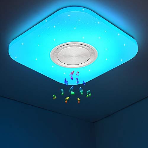 Led Deckenleuchte Farbwechsel mit Fernbedienung und APP-Steuerung, Bluetooth Deckenleuchte mit Lautsprecher, 24W 3000-6500K für Schlafzimmer Kinderzimmer Wohnzimmer, Quadrat 40x40CM