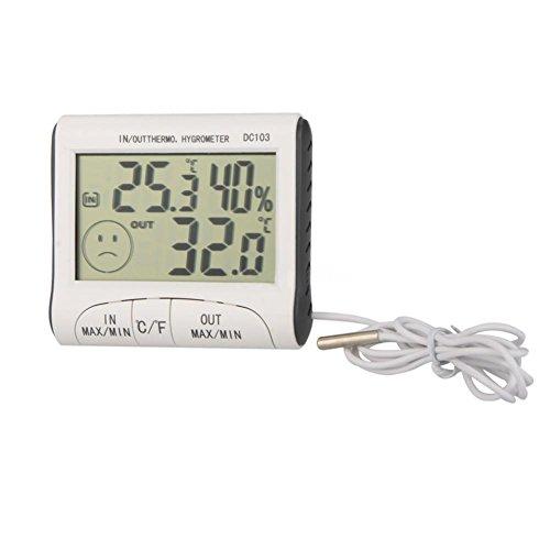 1 x DC103 LCD digitale per interni/esterni, con termometro, igrometro, umidità, sensore di temperatura
