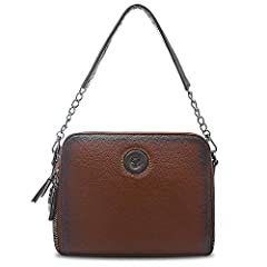 HIGH-END MATERIAL & FEATURES: This women's genuine leather shoulder bag is made of 1st class Genuine Cowhide leather and durable branded lining, reliable zippers, zip-top closure; Adjustable Long strap аnd additional Short strap allow You to use this...