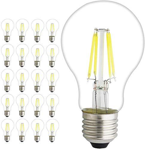 Lampadina E27 LED Star Classic A60 con attacco a vite E27 non regolabile 4W 6W 8W equivalente 45W 60W stile filamento bianco freddo 6000Kelvin vetro 1pz E27 8,00W 220,00 voltsV, 20er-pack, 4W