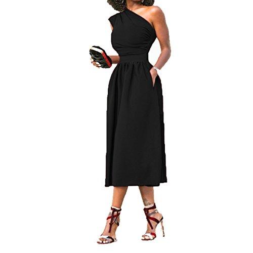 HANMAX Damen Abendmode Skaterkleid Etuikleid One-Shoulder Business Outfits Petticoat Kleid Cocktailkleid