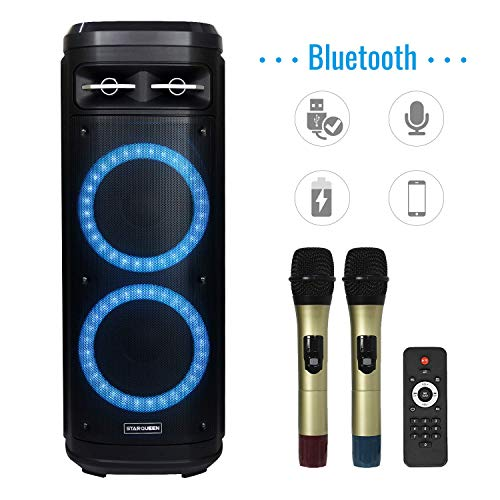 STARQUEEN Karaoke Speaker for Adults Karaoke Machine with Dual 10 inch Woofer Colorful DJ Lights 2 Wireless Microphone Perfect for...
