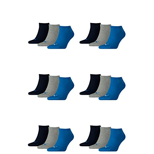 PUMA Unisex Invisible Sneaker Socken 6er Pack, Größe:35-38;Farbe:Blue / Grey Melange (277)