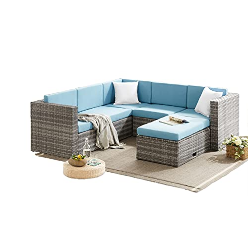 Outdoor Living Grey Rattan Garden Furniture 6 Seat Corner Sofa & Coffee Table Patio Set - Blue Cushions