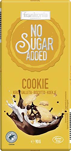 Frankonia Chocolat no Sugar Added Chocolate con Leche con Trozos de Galletas de Mantequilla Sin Gluten, 90 G