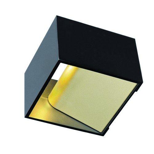 LED Wandleuchte LOGS IN, eckig, 5W, COB LED, 3000K, schwarz/messing EEK: A++ - A