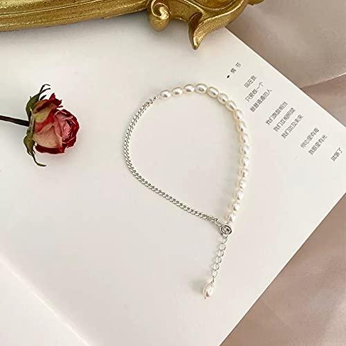 QiuYueShangMao Pulsera de Perlas de Agua Dulce Natural con joyería de Cadena para Regalo de Mujer Cadena de la Amistad Regalo de cumpleaños para mamá, Esposa, Novia.