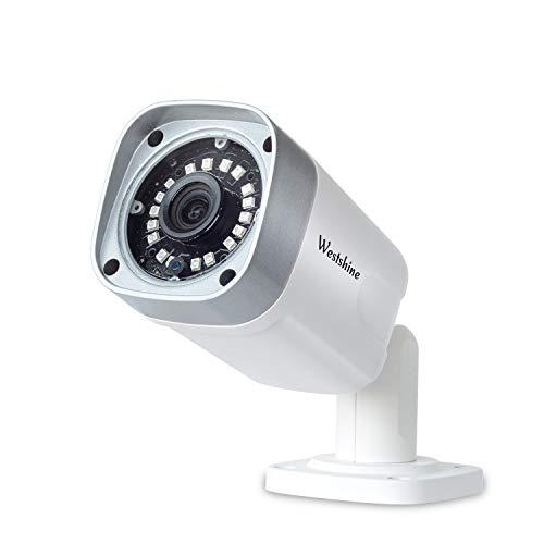 Westshine Cámara IP de Seguridad, 5MP PoE(Power Over Ethernet), Cámaras Bullet de vigilancia para Interiores y Exteriores, Detección de Movimiento, 18pcs IR Leds 20 Metros de visión Nocturna