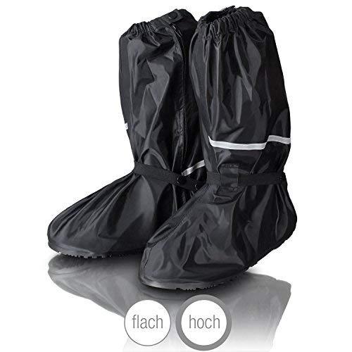 Amazy Regen Überschuhe + Gratis-Aufbewahrungsbeutel (Größe 44/45 | hoch) – wasserdichte und rutschfeste Schuhüberzieher mit Reflektoren für trockene, saubere Schuhe auch bei Regen, Schnee oder Staub