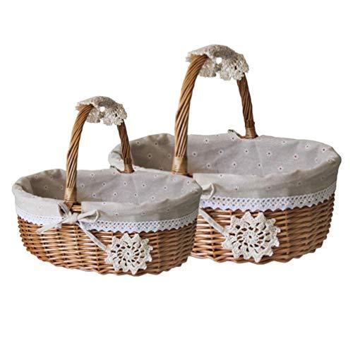 GPWDSN Wicker Picknickkorb, gewebter Picknickkorb Leere ovale Lagerung Wicker Basket Rustikale Land Leinen Spitze Brot Laib Obst Gemüsekorb