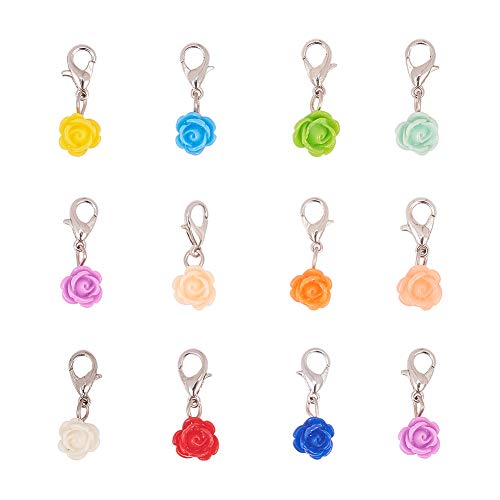PandaHall 24 Piezas de Colores Surtidos Rose Dangle Charms