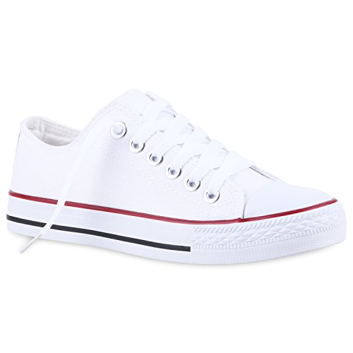 stiefelparadies Bequeme Damen Schuhe Sneakers Low Cut Canvas Schuhe Basic Schnürer 120611 Weiss Rotstreifen 43 Flandell