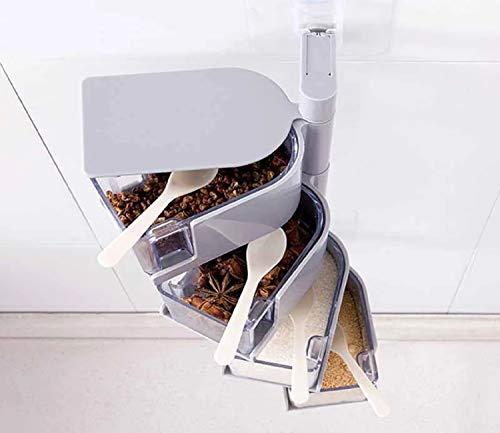 Kitchen Spice Rack/Box Multifunctional Wall-Mounted Plastic Rotating Seasoning Box Sealed Salt, Sugar and Pepper Pot (Gray, 4 Layer)