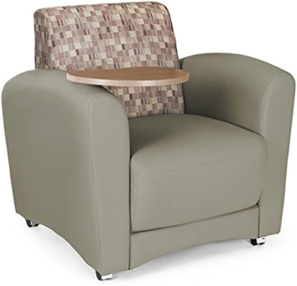 OFM InterPlay Series Upholstered Guest Reception Chair Plum Taupe Bronze Tablet