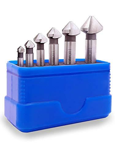 LUCIAMO ® 6 tlg. 90° Profi Senker Set HSS 4241 - für Holz, Metall und Kunststoff - ein Muss für jeden Werkzeugkasten!