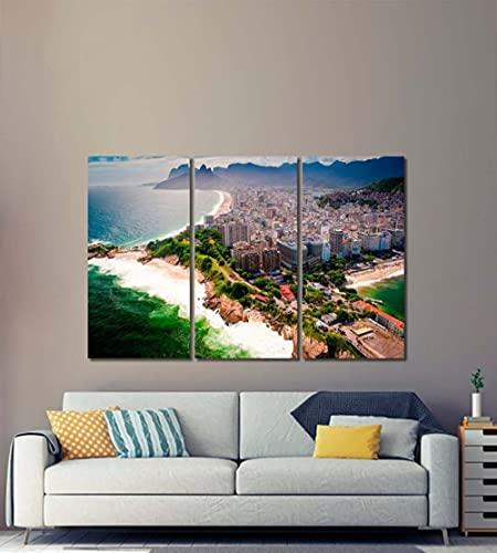 QUANQUAN Stampe E Quadri su Tela 3 Pezzi Spiaggia dello Skyline del Brasile Moderni Quadri 150X70Cm Modulare per Camera da Letto Decorativa Moderna Soggiorno Parete Casa Decor Arte