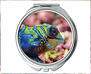 Mirror,makeup mirror,betta fish theme of Pocket Mirror,portable mirror 1 X 2X Magnifying
