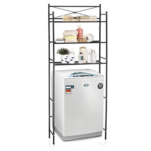 CARO-Möbel Waschmaschinenregal MARSA Toilettenregal Badezimmerregal Bad WC Stand Regal mit 3 Ablagen in schwarz