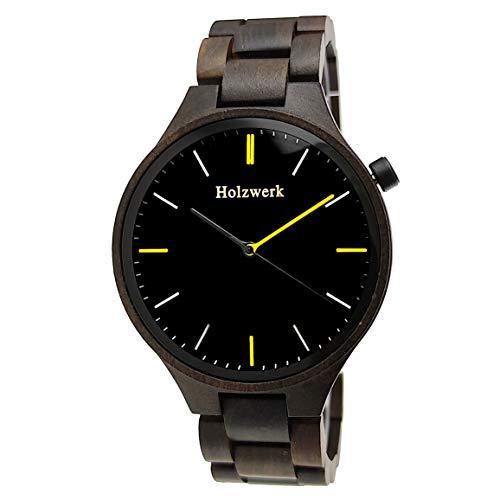 Holzwerk Germany, orologio da uomo realizzato a mano in legno ecologico, analogico, al quarzo, colore marrone e nero