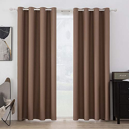 MIULEE Blackout Curtains for Bedroom Living Room Thermal Insulated Room Darkening Grommet Top Solid Light Blocking Drapery Set of 2 Window Panels 52 x 84 Inches Mocha
