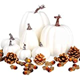 Toopify 7 pcs Assorted Sizes White Artificial Pumpkins Faux Foam Autumn Pumpkins with 24 pcs Acorns and 4 pcs Pinecones for Halloween Thanksgiving Table Fall Harvest Home Decorations