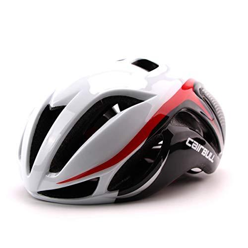 Cairbull Aerodynamik Größe Specialized Fahrradhelm MTB Helm 56-62 cm Mountainbike Helm Herren & Damen Schwarz Mit Rucksack Fahrrad Helm Integral 19 Belüftungskanäle (Schwarz Weiß Rot, Erwachsene)