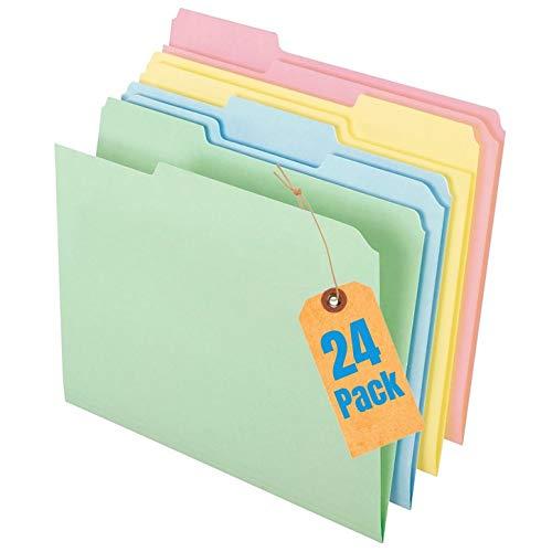 1InTheOffice File Folders, Colored File Folders Letter Size, Top-Tab File Folders, 3 Tab, 5 Assorted Pastel File Folders, 24/Pack