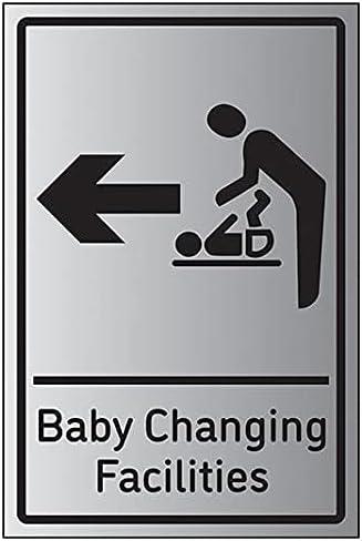 VSafety Baby Changing Facilities Arrow Left - 200mm x 300mm - 1.6mm Alu Effect Rigid Plastic