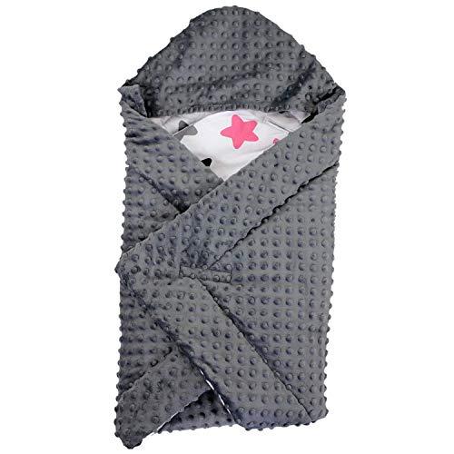 TupTam Baby Winter Einschlagdecke für Babyschale Wattiert, Farbe: Sterne Rosa/Schwarz, Größe: ca. 75 x 75 cm