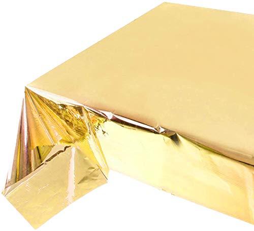 Reofrey - Paquete de 2 manteles de Papel de Aluminio Dorado para Mesa, Mantel de plástico Brillante para Mesa de Fiesta para Banquete, Festival, decoración de Mesa de Fiesta 54x108 Pulgadas