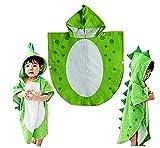 SHANF Bonito diseño de dinosaurio toalla de baño con capucha albornoz playa toalla de natación poncho niños (verde)