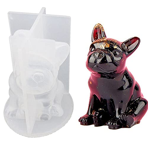 YERZ French Bulldog Mold,3D Puppy Silicone Mold, for Fondant Chocolate Candy Gum Paste Polymer Clay Resin Making Cake Decorating(1)